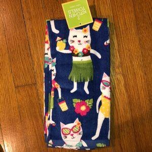 Set of two kitchen towels Hawaiian Kittens NWT